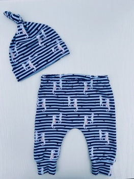 Seahorse Navy and white striped Hare Slim Leggings - Sizes up to 6 years  (Matching Hat available)