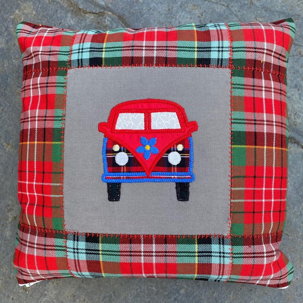 Hippy camper van cushion with Caledonia tartan
