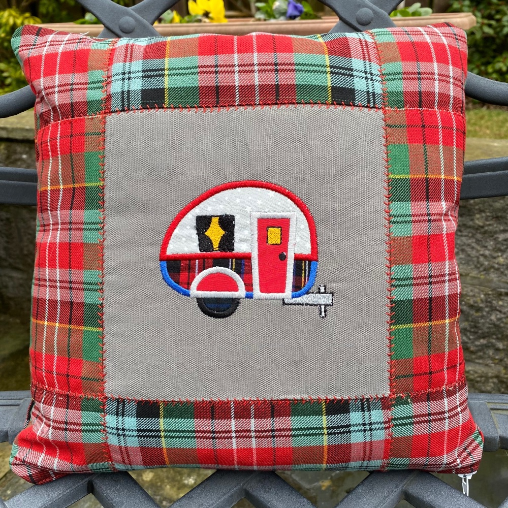 Tartan Appliqué Hippy Campervan Cushion (with cushion pad)