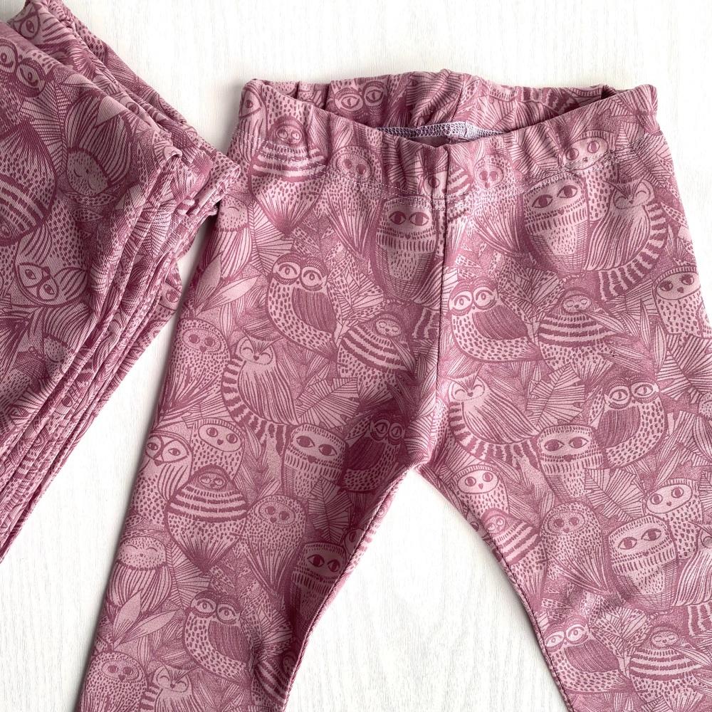 Pink organic cotton Owl Leggings