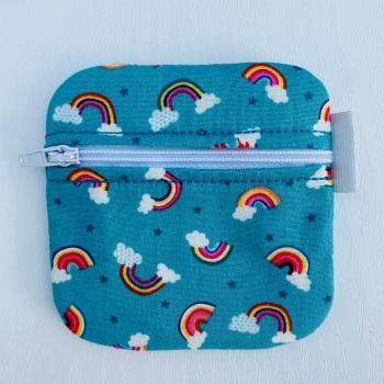 Turquoise Rainbow Zipped purse - small