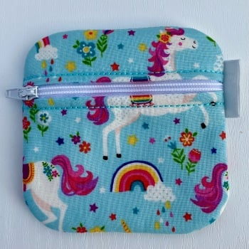 Turquoise Unicorns and Rainbow Zipped purse - small