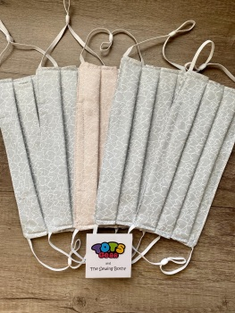 Light grey with mini hearts Face Mask - 4 sizes/options available to order