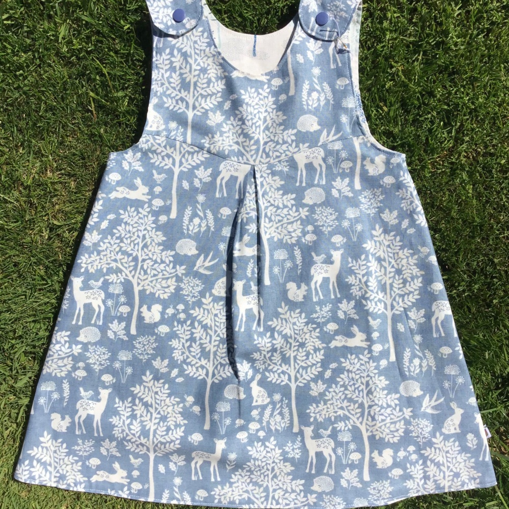Blue and Cream Forest Animals and Trees Reversible Dress  -  in sizes up to