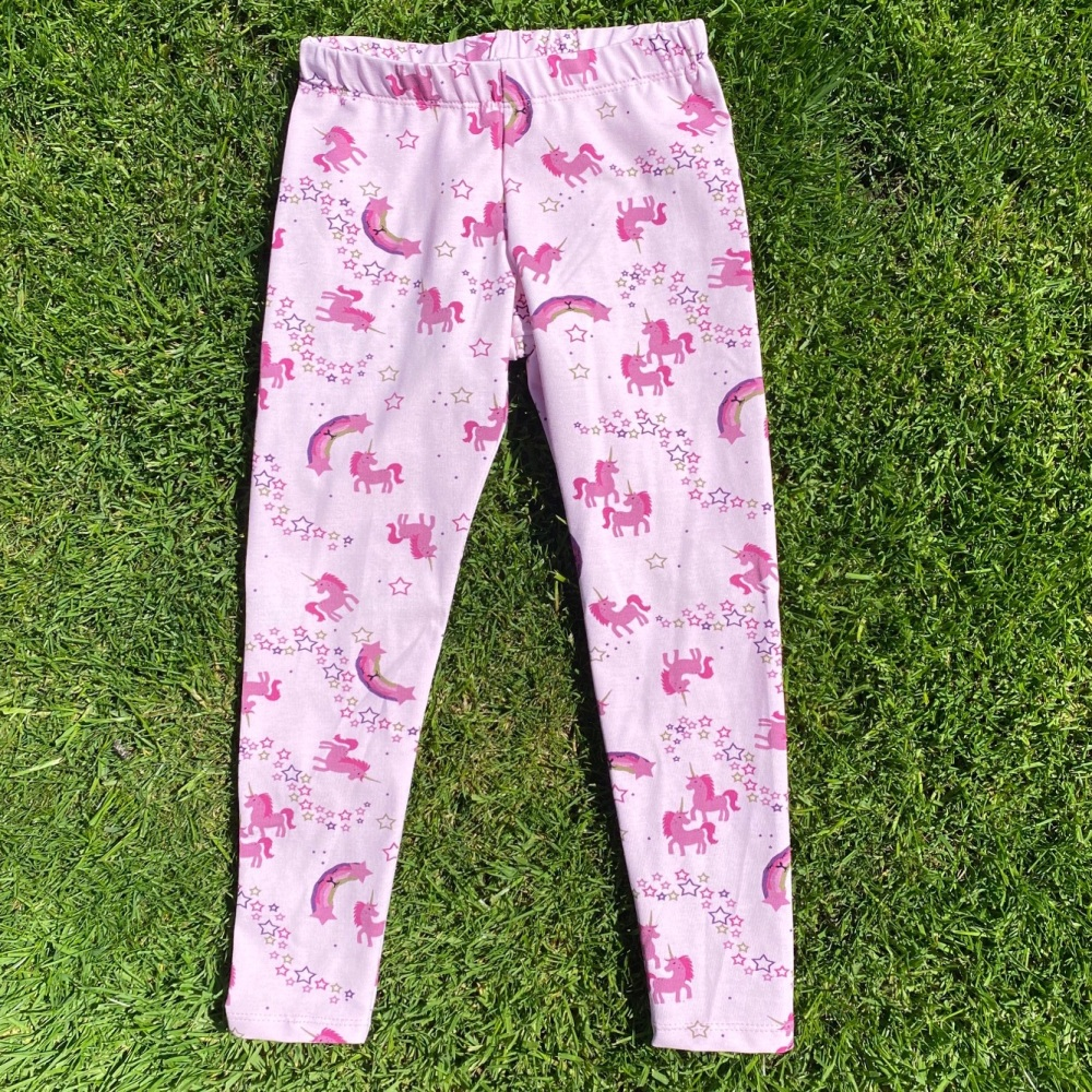 Pink Full Length Leggings with Rainbows and Unicorns
