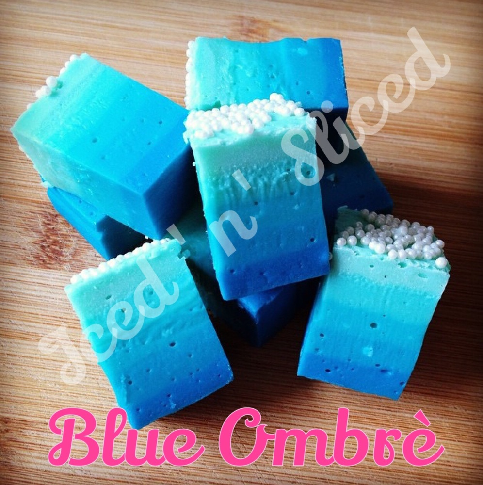 Blue Ombre fudge pieces