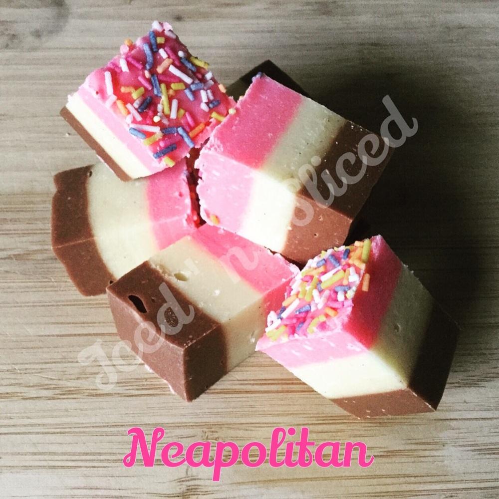 Neapolitan fudge pieces