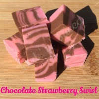 Chocolate Strawberry Swirl fudge pieces