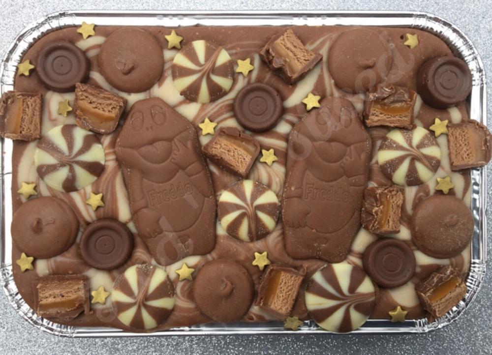 Chocolate Caramel Swirl Fudge Tray