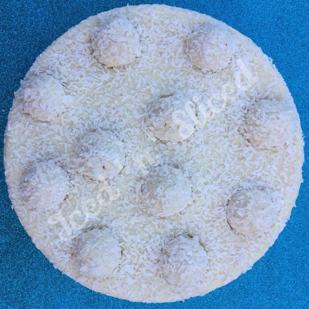 Coconut Rafaello Fudge Pizza