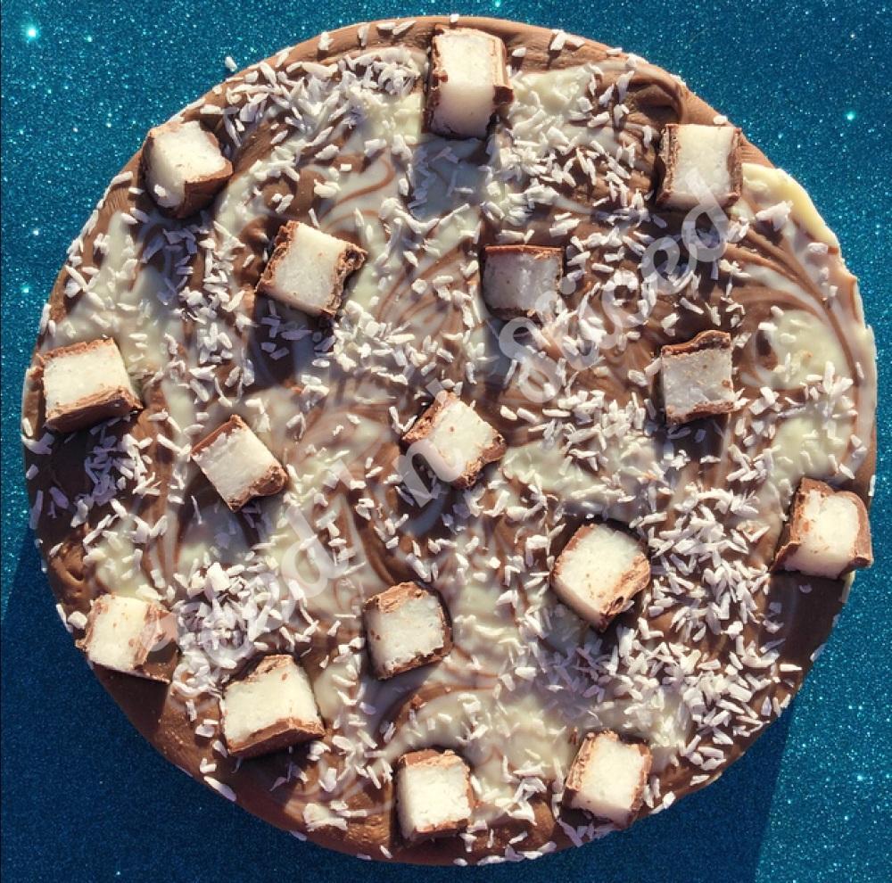 Coconut Bounty Swirl Fudge Pizza