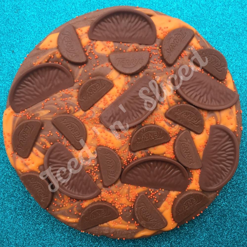 Chocolate Orange Swirl Fudge Pizza
