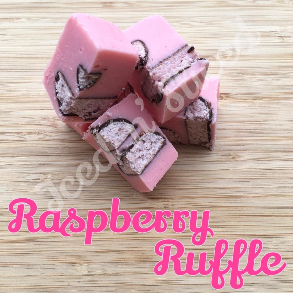 Raspberry Ruffle fudge pieces