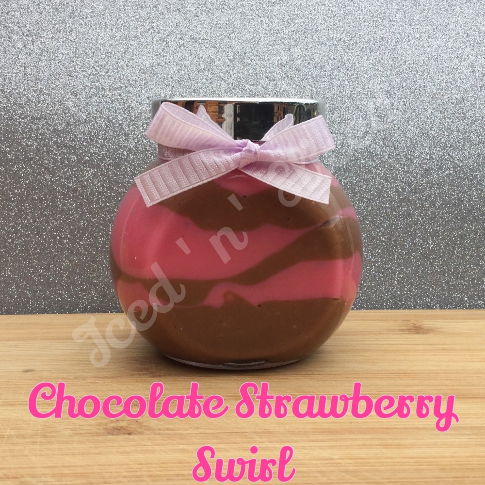 Chocolate Strawberry Swirl little pot of fudge