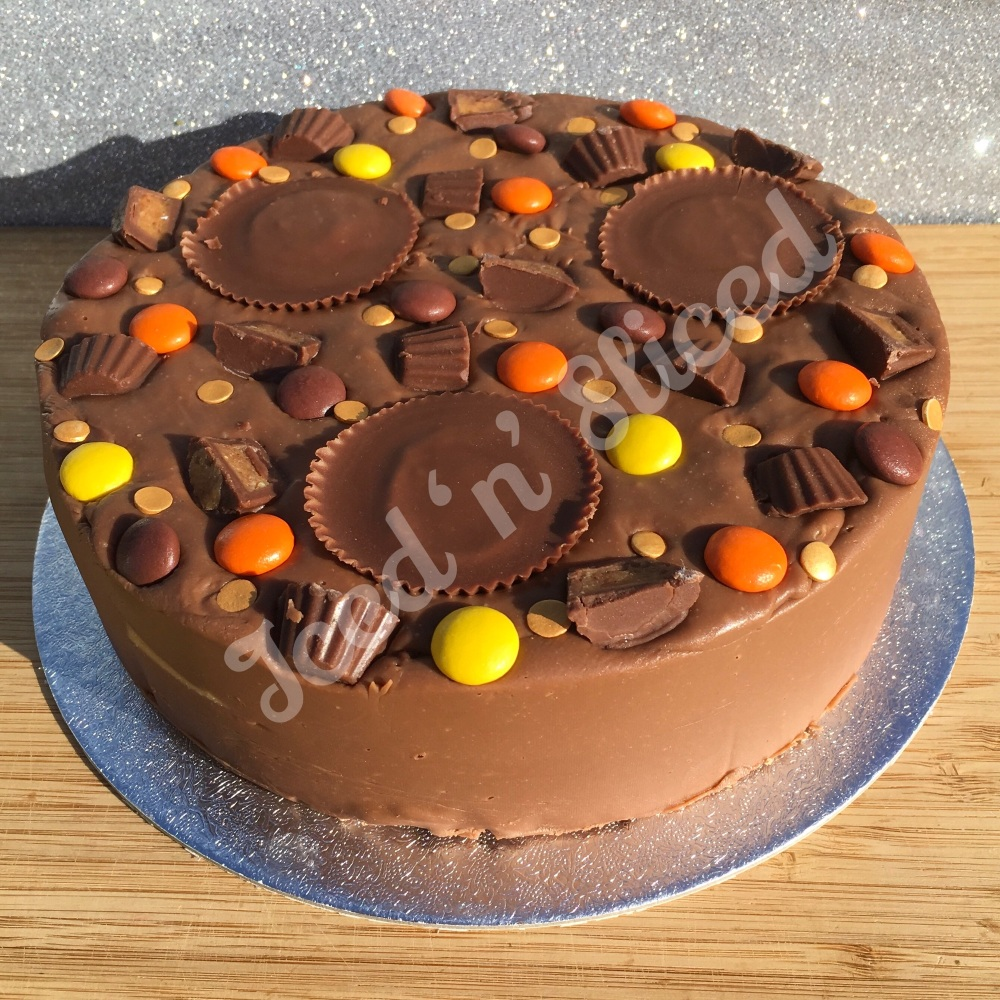Reeses Peanut Butter solid fudge cake