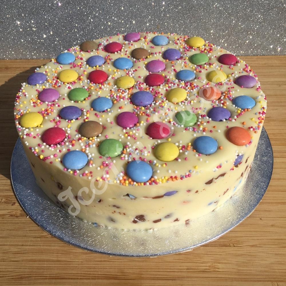 NEW Smarties solid fudge cake