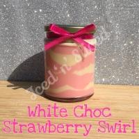 White Choc Strawberry Swirl little pot of fudge