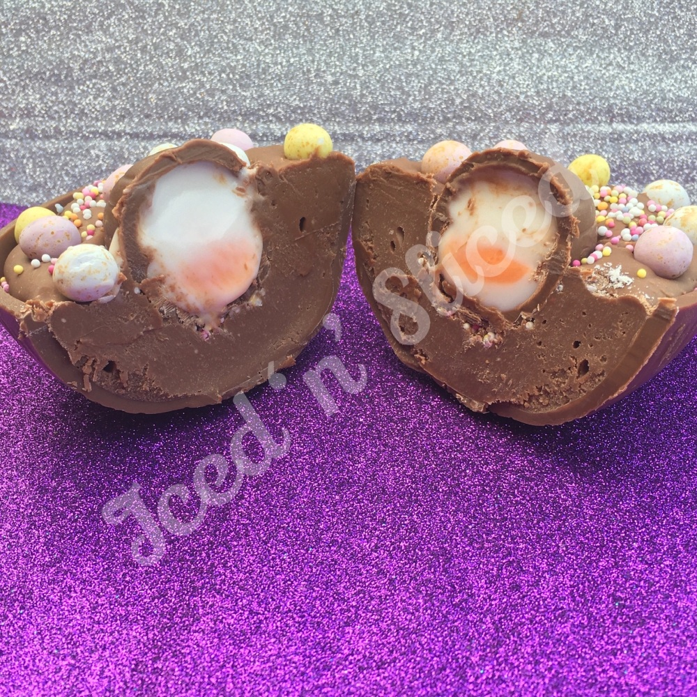 Creme Egg fudge Easter egg half