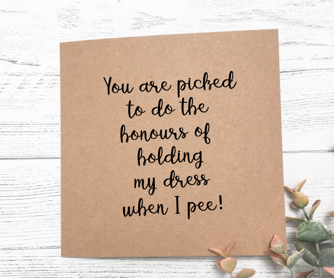 Bridesmaid Honours Card - Kraft Brown