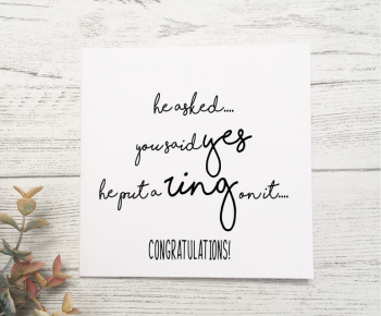 Congratulations on Engagement Card - white
