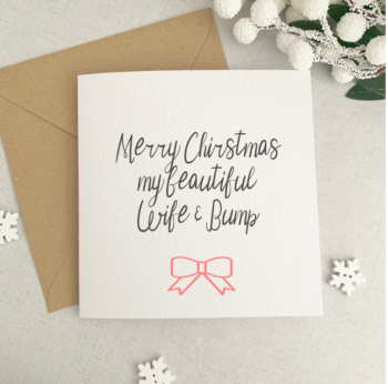 Beautiful wife and bump Christmas card