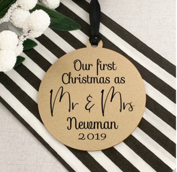 Gold First Christmas as Mr & Mrs bauble - personalised