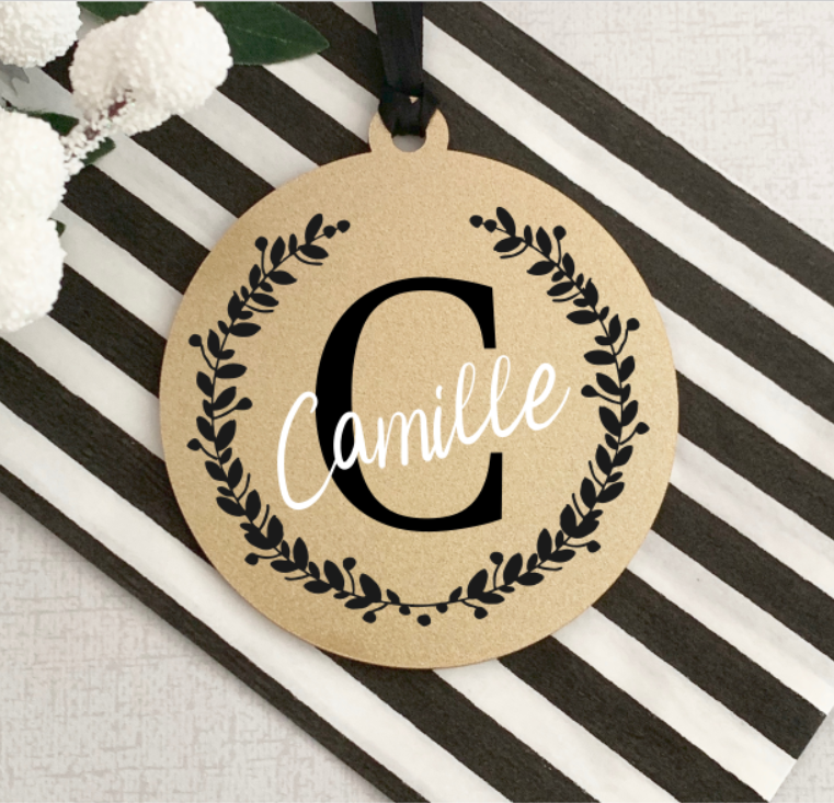 Gold Initial & Name Christmas Bauble