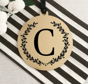 Gold Initial Christmas Bauble