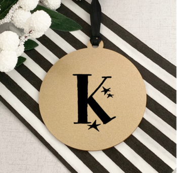 Gold sparkle star initial bauble