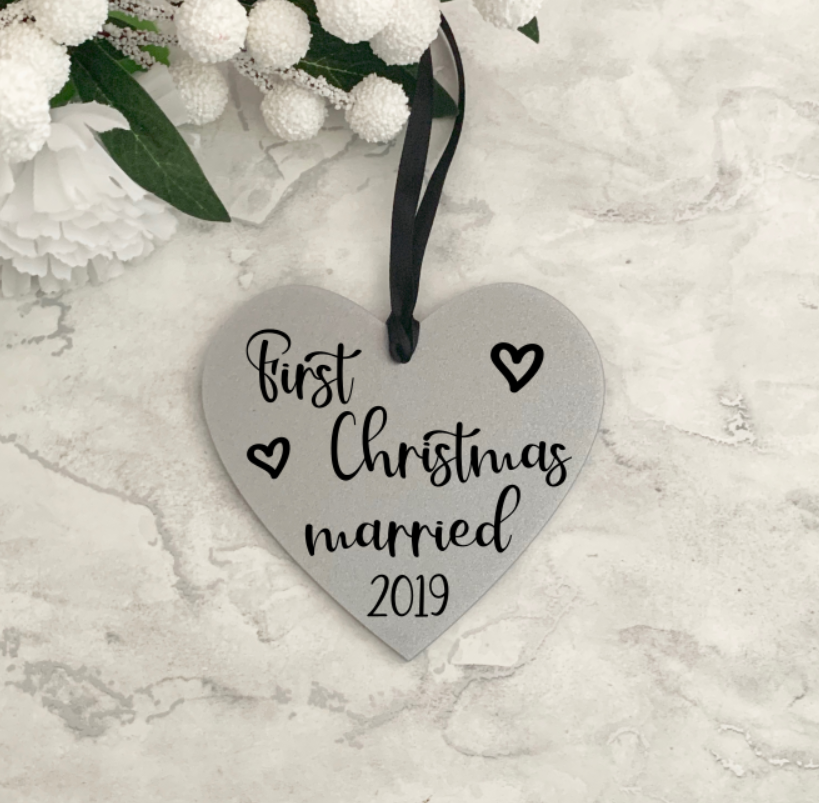 First Christmas Married Christmas Heart Decoration