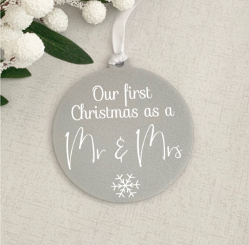 Silver First Christmas as Mr & Mrs bauble