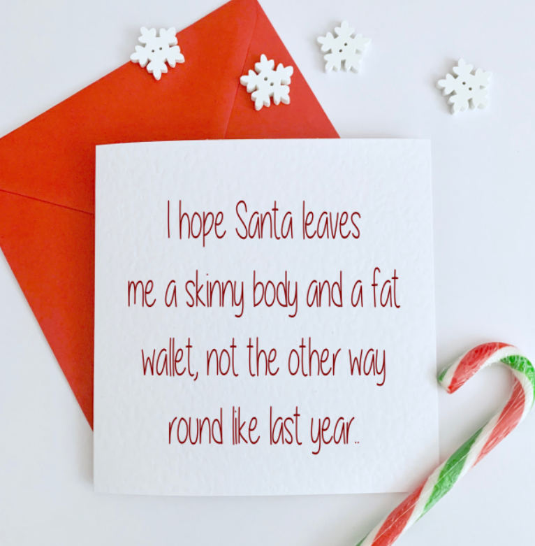 Skinny Body Fat Wallet Christmas Card