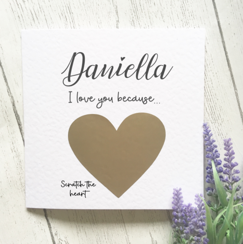 Personalised Valentines Scratch Card