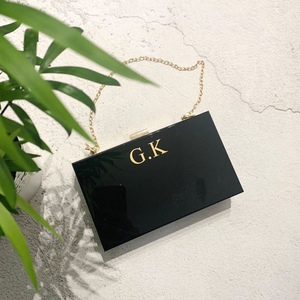 Black Initial Clutch Bag