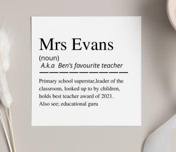 Teacher Definition Card