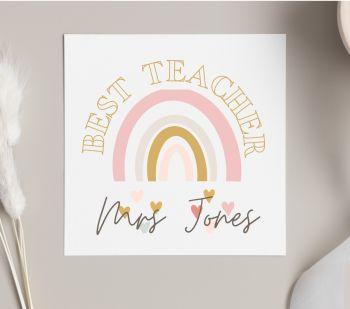 Best Teacher Rainbow Card