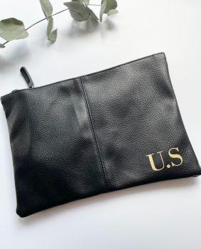 Initial Leatherette Wash Bag