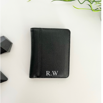 Black Leather Initial Wallet