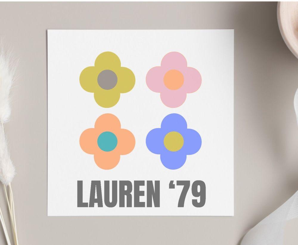 Retro  Floral Birthday Card