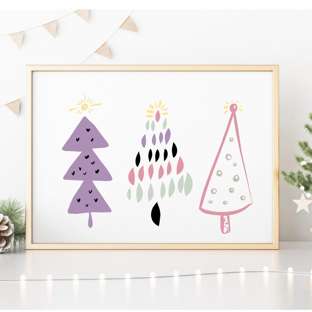 Pastel Christmas Tree Trio Print
