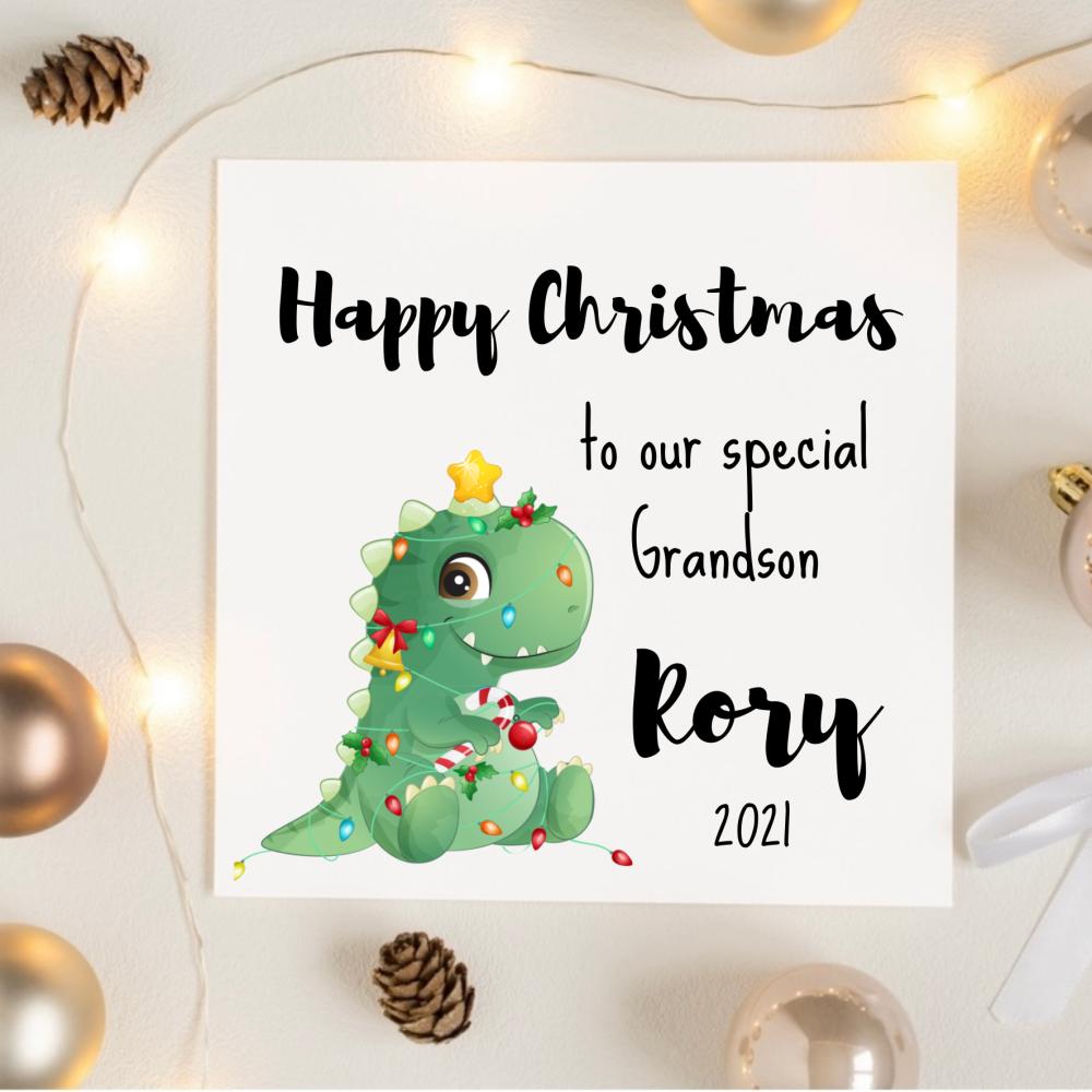 Festive Dinosaur Christmas Card
