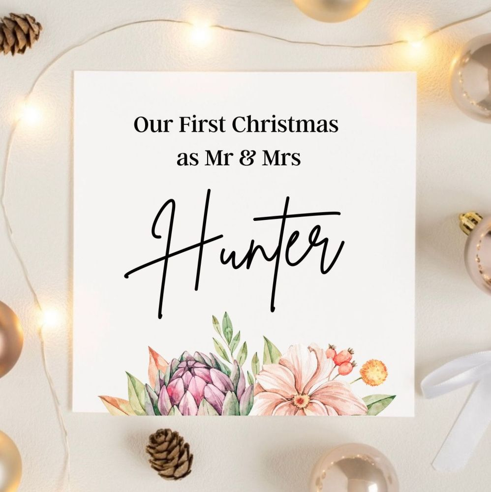 Floral First Christmas Married Card