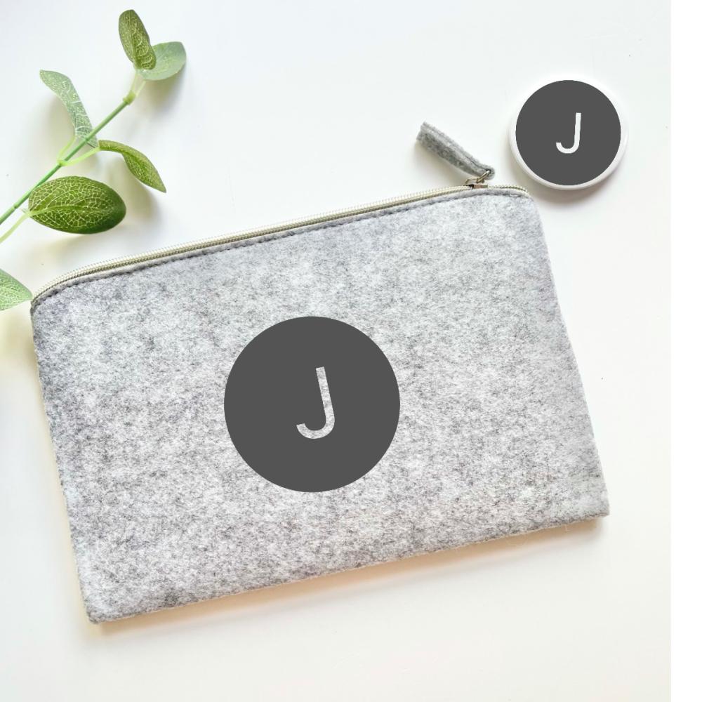 Grey Make up Bag and Mirror Set