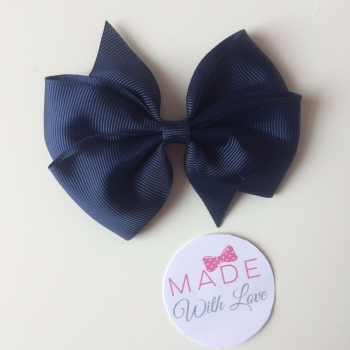 "3.5"" Wendy Bow Clip - Navy"