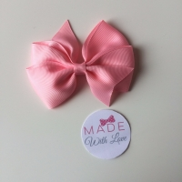 "3.5"" Flat Bow Clip - Baby Pink"