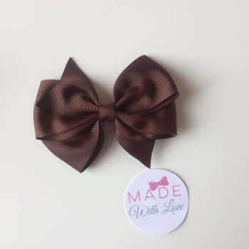 "3.5"" Wendy Bow Clip - Brown"
