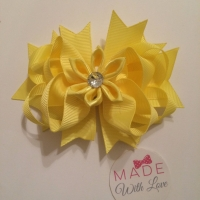 "4.5"" Flower Middle Bow Clip - Yellow"