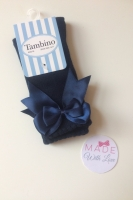 Spanish Knee Length Double Bow Socks - Navy