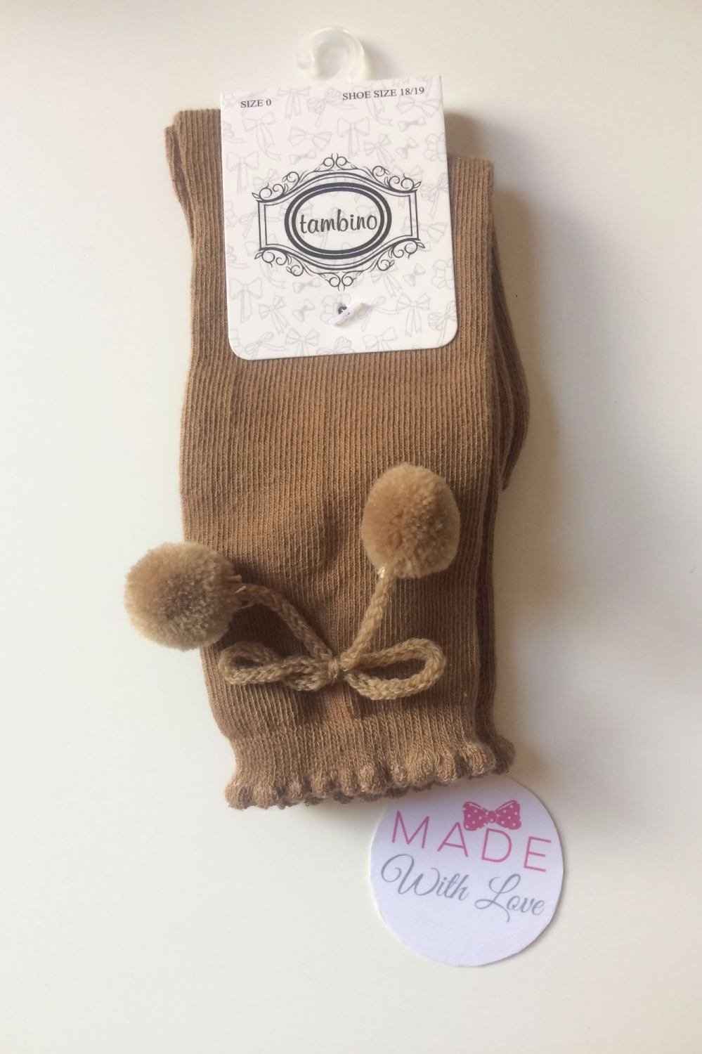 Spanish Pom Pom Knee Length Socks - Brown