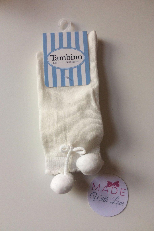 Spanish Pom Pom Knee Length Socks - White
